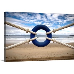 Large Solid-Faced Canvas Print Wall Art Print 30 x 20 entitled Blue life belt and lonely beach.