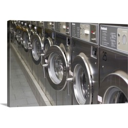 Large Solid-Faced Canvas Print Wall Art Print 30 x 20 entitled Silver washing machines at a city laundromat