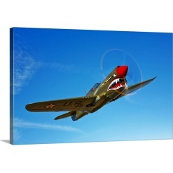 Large Gallery-Wrapped Canvas Wall Art Print 24 x 16 entitled A P 40E Warhawk in flight