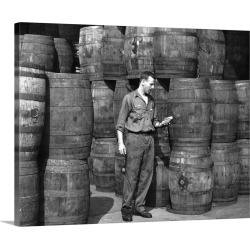 Large Gallery-Wrapped Canvas Wall Art Print 20 x 16 entitled Stanley Hyams at the Washington Pickle Works in Brooklyn, New...