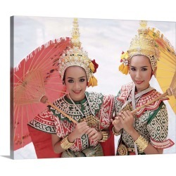 Large Solid-Faced Canvas Print Wall Art Print 30 x 24 entitled Dancers in traditional Thai classical dance costume, Bangko...