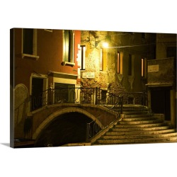 Large Solid-Faced Canvas Print Wall Art Print 30 x 20 entitled A stairway and bridge over a canal at night