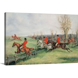 Large Solid-Faced Canvas Print Wall Art Print 30 x 20 entitled Sporting Scene, 19th century