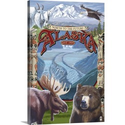 Large Gallery-Wrapped Canvas Wall Art Print 16 x 24 entitled Alaska Scenes Montage: Retro Travel Poster found on Bargain Bro India from Great Big Canvas - Dynamic for $214.99