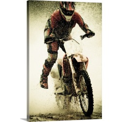 Large Solid-Faced Canvas Print Wall Art Print 20 x 30 entitled Dirt bike rider splashes through water filled stream