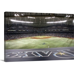Large Gallery-Wrapped Canvas Wall Art Print 30 x 20 entitled Tropicana Field in St. Petersburg, Florida during game one of...