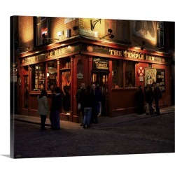 Large Solid-Faced Canvas Print Wall Art Print 30 x 24 entitled Temple Bar, Dublin, Eire