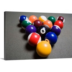 Large Gallery-Wrapped Canvas Wall Art Print 24 x 16 entitled Pool Balls On A Billiard Table With The Eight Ball Facing Upw... found on Bargain Bro India from Great Big Canvas - Dynamic for $214.99