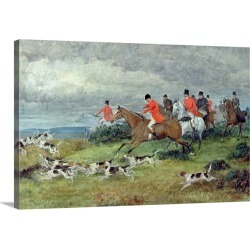 Large Solid-Faced Canvas Print Wall Art Print 30 x 20 entitled Fox Hunting in Surrey, 19th century