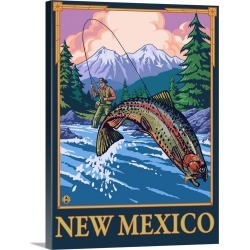 Large Gallery-Wrapped Canvas Wall Art Print 17 x 24 entitled Fly Fisherman - New Mexico: Retro Travel Poster found on Bargain Bro India from Great Big Canvas - Dynamic for $229.99