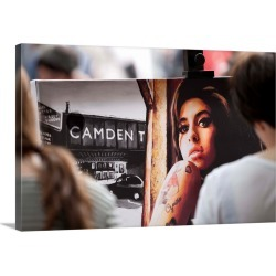 Large Solid-Faced Canvas Print Wall Art Print 30 x 20 entitled England, London, Camden Town, Amy Winehouse painting