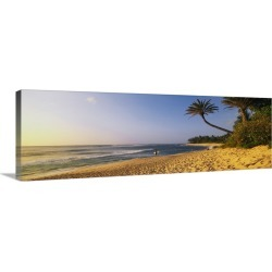 Large Solid-Faced Canvas Print Wall Art Print 48 x 16 entitled Surfer on Beach HI