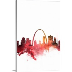 Large Solid-Faced Canvas Print Wall Art Print 20 x 30 entitled St. Louis Watercolor Cityscape