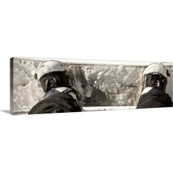 Large Solid-Faced Canvas Print Wall Art Print 48 x 16 entitled Snowboard With Boots