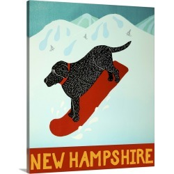 Large Solid-Faced Canvas Print Wall Art Print 24 x 30 entitled New Hampshire Snowboard Black