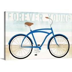 Large Solid-Faced Canvas Print Wall Art Print 30 x 20 entitled Beach Cruiser Boys I