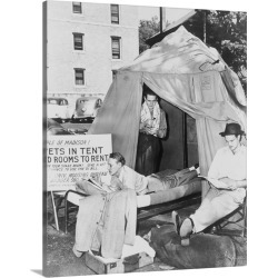 Large Solid-Faced Canvas Print Wall Art Print 24 x 30 entitled Three GI Students At University Of Wisconsin Living In Tent