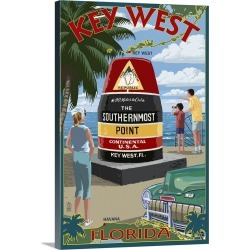 Large Gallery-Wrapped Canvas Wall Art Print 16 x 24 entitled Key West, Florida - Southernmost Point: Retro Travel Poster