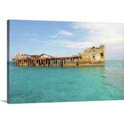 Large Solid-Faced Canvas Print Wall Art Print 30 x 20 entitled Cement ship wreck in Barnett Harbour, South Bimini, Bahamas