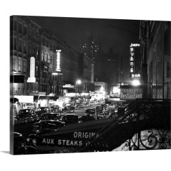 Large Gallery-Wrapped Canvas Wall Art Print 20 x 16 entitled 1940's Night Street Scene West 52Nd Street Lights From Numero...