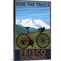 Large Solid-Faced Canvas Print Wall Art Print 20 x 30 entitled Frisco, Colorado - Mountain Bike and Mountains: Retro Trave...