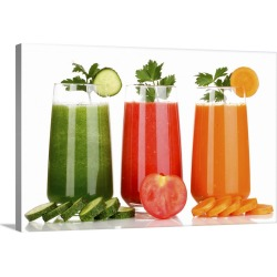 Large Solid-Faced Canvas Print Wall Art Print 30 x 20 entitled Fresh vegetable juices