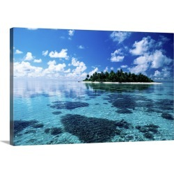 Large Solid-Faced Canvas Print Wall Art Print 30 x 20 entitled Small island in the sea