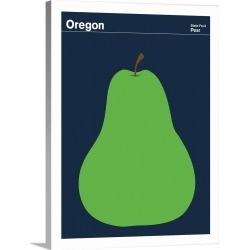 Large Solid-Faced Canvas Print Wall Art Print 30 x 40 entitled State Posters - Oregon State Fruit: Pear