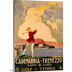 Large Gallery-Wrapped Canvas Wall Art Print 23 x 30 entitled Cadenabbia Tremezzo, Golf and Tennis, Vintage Poster