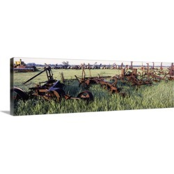Large Gallery-Wrapped Canvas Wall Art Print 36 x 12 entitled Old farm equipment in a field, Kansas