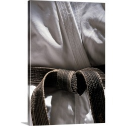 Large Solid-Faced Canvas Print Wall Art Print 20 x 30 entitled Martial arts gi with black belt