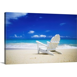 Large Solid-Faced Canvas Print Wall Art Print 30 x 20 entitled Adirondack chair sitting on a beach in Honolulu, Hawaii