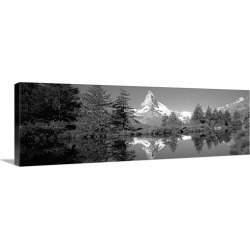 Large Gallery-Wrapped Canvas Wall Art Print 30 x 10 entitled Reflection of trees and mountain in a lake, Matterhorn, Switz...