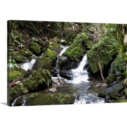 Large Solid-Faced Canvas Print Wall Art Print 30 x 20 entitled Puerto Rico, River water cascading over rocks as it passes ...