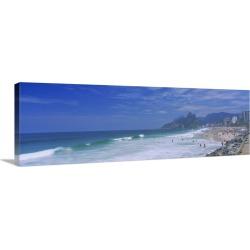 Large Solid-Faced Canvas Print Wall Art Print 48 x 16 entitled Tourists on the beach, Ipanema Beach, Rio de Janeiro, Brazil