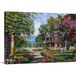Large Solid-Faced Canvas Print Wall Art Print 30 x 20 entitled Late Summer Garden