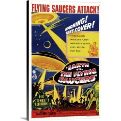 Large Gallery-Wrapped Canvas Wall Art Print 16 x 24 entitled Earth Vs. The Flying Saucers - Vintage Movie Poster