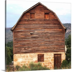 Large Gallery-Wrapped Canvas Wall Art Print 16 x 16 entitled Rustic Barn In A Field