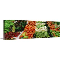 Large Solid-Faced Canvas Print Wall Art Print 48 x 16 entitled Spain, Elorrio, Fruits and vegetables