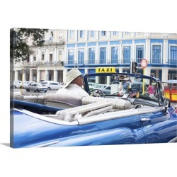 Large Gallery-Wrapped Canvas Wall Art Print 24 x 16 entitled Classic American Car in front of the Telegrafo Hotel, Parque ... found on Bargain Bro India from Great Big Canvas - Dynamic for $214.99