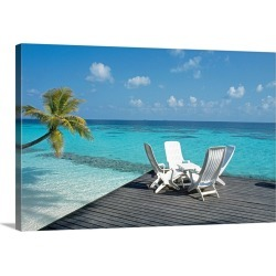 Large Solid-Faced Canvas Print Wall Art Print 30 x 20 entitled Lounge chairs on the beach