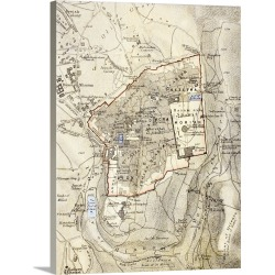 Large Solid-Faced Canvas Print Wall Art Print 30 x 40 entitled City Map of Jerusalem in the 1890s, from 'The Citizen's Atl...
