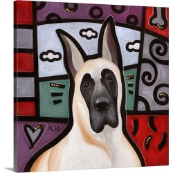 Large Gallery-Wrapped Canvas Wall Art Print 16 x 16 entitled Great Dane Pop Art