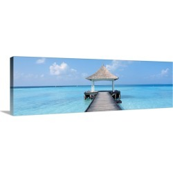 Large Solid-Faced Canvas Print Wall Art Print 48 x 16 entitled Beach & Pier The Maldives