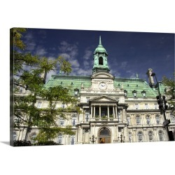 Large Gallery-Wrapped Canvas Wall Art Print 30 x 20 entitled Canada, Quebec, Montreal. Heart of Old Montreal, Jacques Cart...