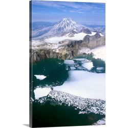 Large Gallery-Wrapped Canvas Wall Art Print 20 x 30 entitled Alaska, Katmai National Park Mount Griggs towering behind the...