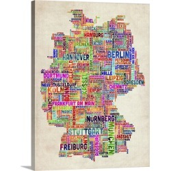 Large Gallery-Wrapped Canvas Wall Art Print 18 x 24 entitled German Cities Text Map, Multicolor on Parchment found on Bargain Bro India from Great Big Canvas - Dynamic for $234.99