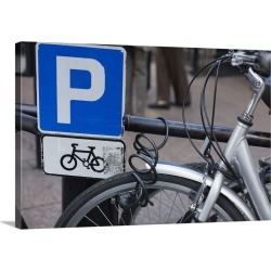Large Solid-Faced Canvas Print Wall Art Print 30 x 20 entitled Bicycle and parking sign