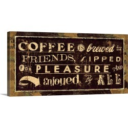 Large Gallery-Wrapped Canvas Wall Art Print 24 x 12 entitled Coffee Quotes IV
