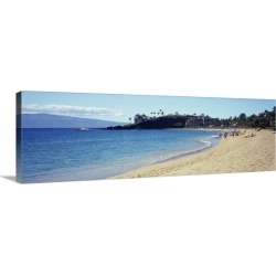 Large Gallery-Wrapped Canvas Wall Art Print 30 x 10 entitled Hotel on the beach Black Rock Hotel Maui Hawaii
